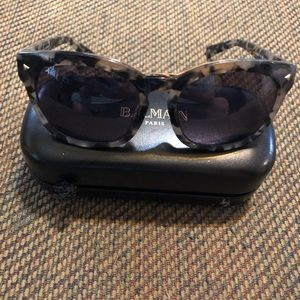 Balmain Black Frame sunglasses with case
